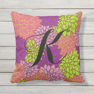 Bold Floral w/Initial in Lime Green, Pink, Purple Outdoor Cushion