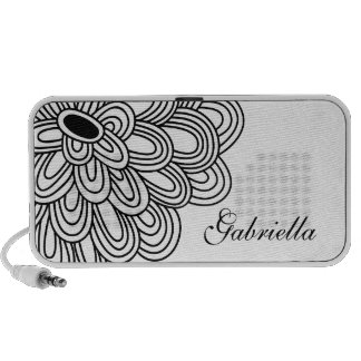 Bold Flower Doodle Custom Speakers Personalized