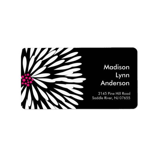 Bold Flower on Black Return Address Labels. Address Label