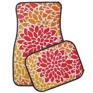 Bold Flower Red Orange Colorful Car Mat