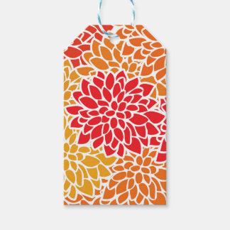 Bold Flower Red Orange Colorful Gift Tags