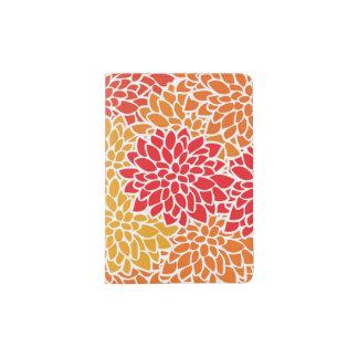 Bold Flower Red Orange Colorful Passport Holder
