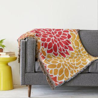 Bold Flower Red Orange Pattern Throw Blanket