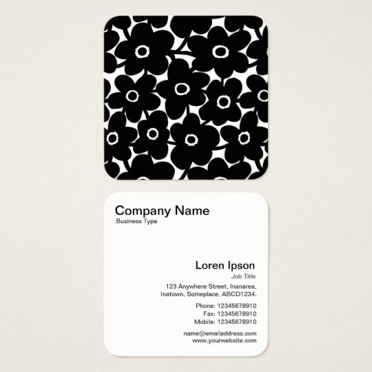 Bold Flowers - Black and White Square Business Card