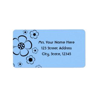 Bold Flowers Blue Address Lables Address Label