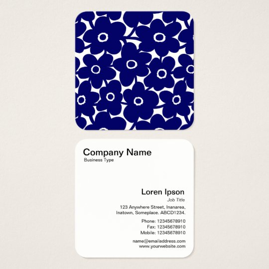 Bold Flowers - Dark Blue and White Square Business Card