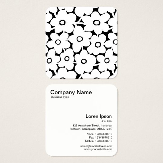 Bold Flowers - White on Black Square Business Card