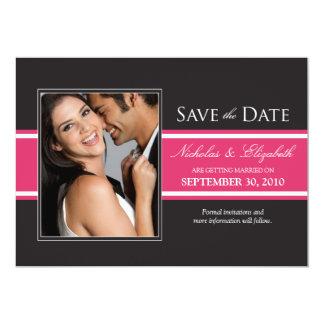 """Bold Fuchsia Stripe Save the Date Announcement 5"""" X 7"""" Invitation Card"""