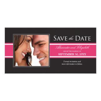 Bold Fuchsia Stripe Save the Date Announcement Custom Photo Card