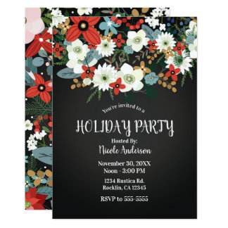 Bold Funky Colorful Floral Dark Chic Holiday Party Card
