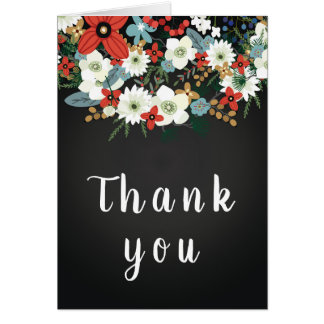 Bold Funky Colorful Floral Dark Chic Thank You Card
