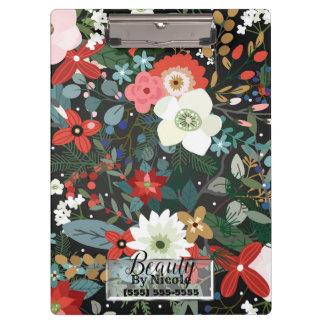 Bold Funky Floral Dark Chic Modern Vintage Flowers Clipboard