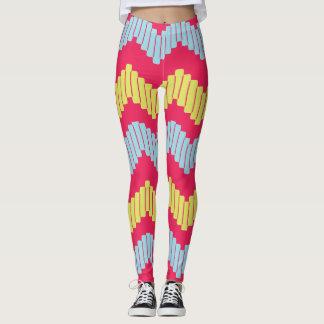 Bold Geometric Chevron Leggings - Hot Pink