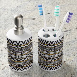 Bold Geometric Pattern Soap Dispenser And Toothbrush Holder