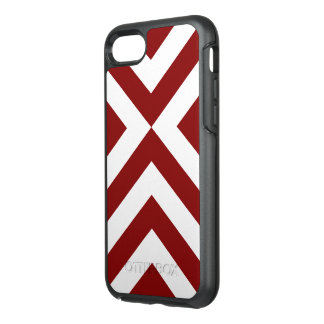 Bold Geometric Red and White V-Shapes OtterBox Symmetry iPhone 8/7 Case