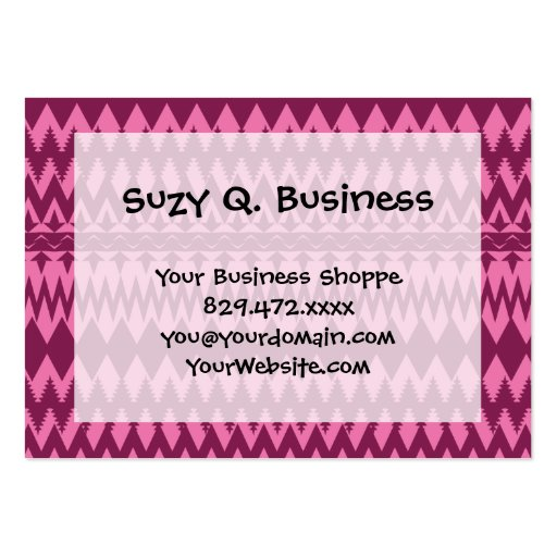 Bold Girly Magenta Pink Chevron Tribal Pattern Business Card