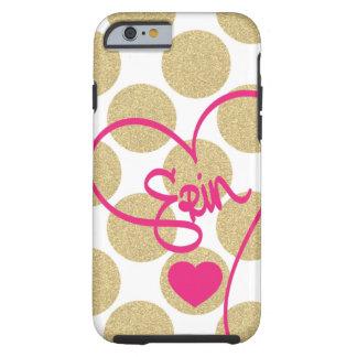 Bold Glitter Gold Dots Heart and Handwritten Name Tough iPhone 6 Case