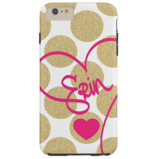 Bold Glitter Gold Dots Heart and Handwritten Name Tough iPhone 6 Plus Case