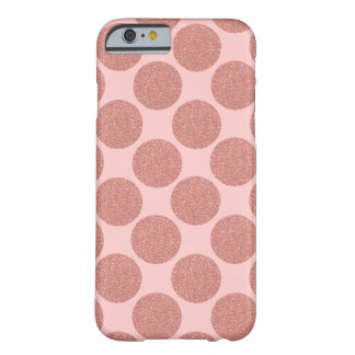 Bold Glitter Rose Gold Dots with custom background Barely There iPhone 6 Case