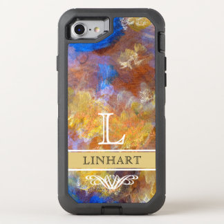 BOLD GOLD BLUE ABSTRACT ART PERSONALIZED OtterBox DEFENDER iPhone 8/7 CASE