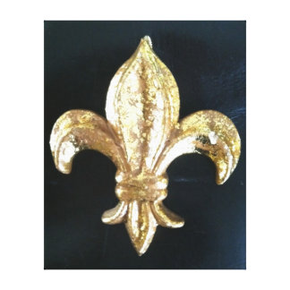 Bold Gold Fleur de lis print on black