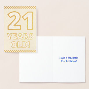 Bold Gold Foil 21 YEARS OLD Birthday Card