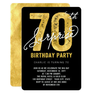 Bold Gold Foil Surprise 70th Birthday Party Invite