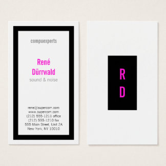 Bold, good to read, black and magenta business card