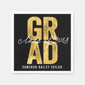 Bold Grad 2018 Gold Graduation Party Paper Napkin