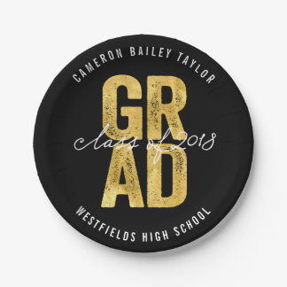 Bold Grad 2018 Gold Graduation Party Paper Plates
