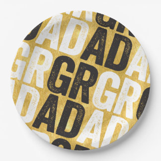 Bold GRAD Chic Gold Graduation Party Paper Plates 9 Inch Paper Plate
