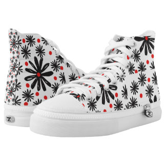 Bold Graphic Black and White Floral with Red Dot High Tops