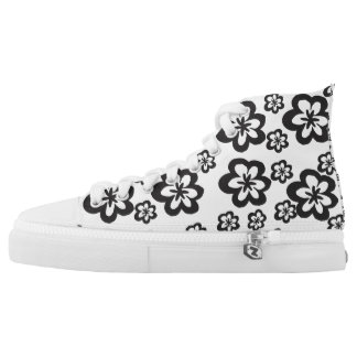 Bold Graphic Black and White Flowers High Tops