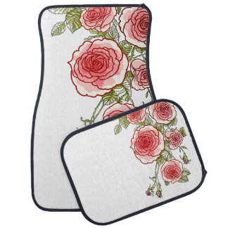 Bold Graphic Girly Roses Floor Mat