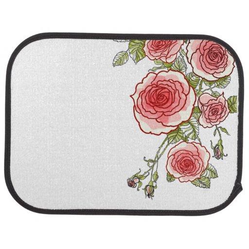 Bold Graphic Girly Roses Car Mat