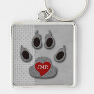 Bold Gray Dog Paw with Red Heart Monogram Key Ring