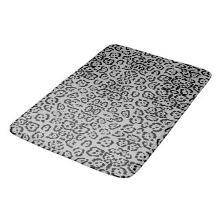 Bold Gray Leopard Animal Cat Print Silver Panther Bath Mat