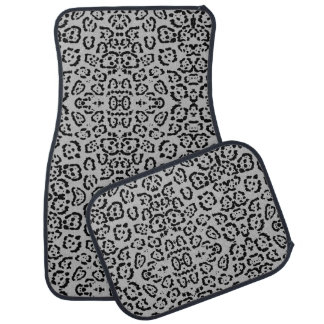 Bold Gray Leopard Animal Cat Print Silver Panther Car Mat