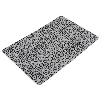 Bold Gray Leopard Animal Cat Print Silver Panther Floor Mat