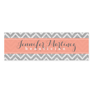 Bold Gray & Orange Chevron Pattern Linen Look Pack Of Skinny Business Cards
