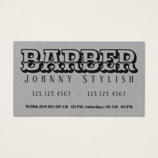 Bold gray vintage style barber business card
