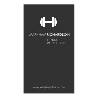 Bold Gray/White Personal Trainer Business Card