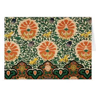 Bold Green & Orange Floral Notecard
