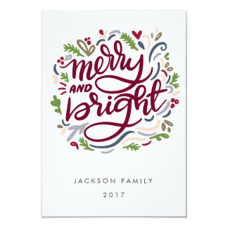Bold Hand Lettered merry and Bright Holiday Card