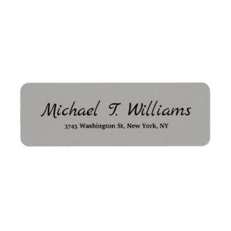 Bold Handwriting Classical Grey Elegant Minimalist Return Address Label