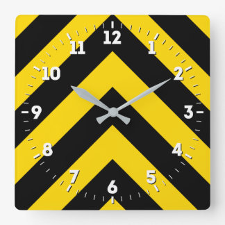 Bold Highway Traffic Bumble Bee Chevrons on a Square Wall Clock
