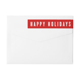 Bold Holiday | Holiday Return Address Labels Wraparound Return Address Label