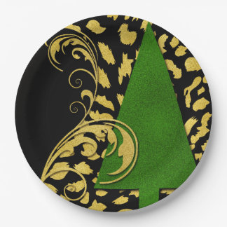 Bold Holiday Tree with Golden Swirls on Black Paper Plate