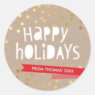 BOLD HOLIDAY TYPOGRAPHY trendy gold confetti kraft Round Sticker