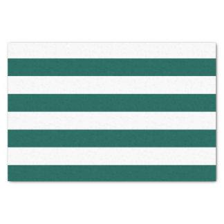 Bold Horizontal Pine Green and White Stripes Tissue Paper